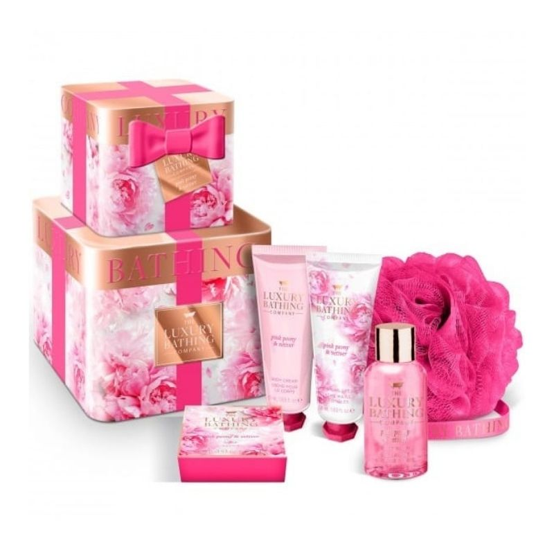 The Luxury Bathing Company Pink peony & Vetiver Bath Set